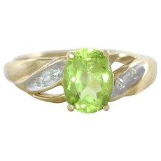 Natural Peridot and Diamond Ring 10k Yellow Gold Size 6
