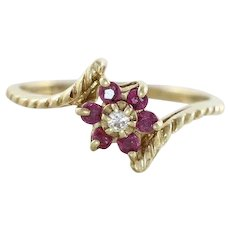 Natural Ruby and Diamond Flower Ring 10K Yellow Gold Size 6