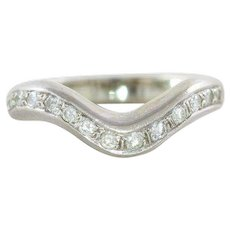 14k White Gold Curved Contoured Diamond Band Ring Wedding Band Size 6 3/4