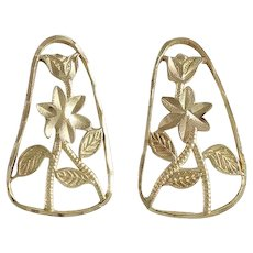 14k Yellow Gold Flower Leaf Earrings Filigree