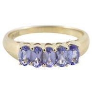 Natural Tanzanite Band Ring 14k Yellow Gold Size 8