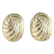14k Yellow Gold Oval Swirl Stud Earrings