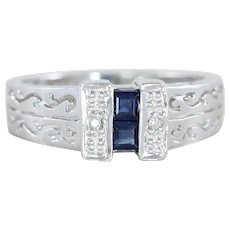 Natural Blue Sapphire and Diamond Ring Band 14k White Gold  Size 7 1/2