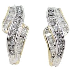 Diamond Hoop Earrings One Carat 14k Yellow & White Gold