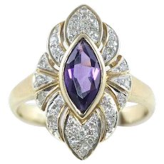 Purple Amethyst and Diamond Ring 10k Yellow Gold Size 7