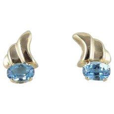 Natural Blue Topaz Earrings 14k Yellow Gold