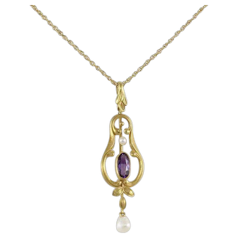 Antique Victorian Amethyst and Pearl Lavalier Necklace 14k Yellow Gold 18 inch chain