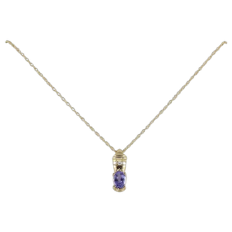 Natural Tanzanite and Diamond Necklace 14K Yellow Gold 18 inch chain