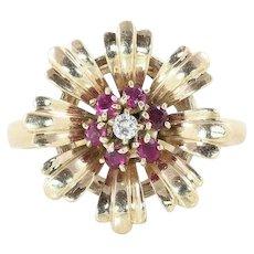Art Deco Ruby Diamond Flower Ring 14k Yellow Gold Size 6 3/4