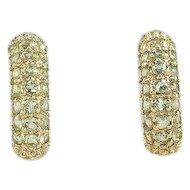 Natural Green Peridot Half Hoop Earrings 14k Yellow Gold