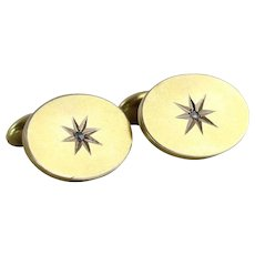 Mens 10K Yellow Gold Diamond Cuff Links Antique Bean Back Cufflinks