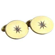 Mens 9K Yellow Gold Diamond Cuff Links Antique Bean Back Cufflinks