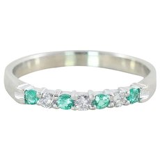 Green Emerald and Diamond Stackable Band Ring 10k White Gold Size 6 3/4