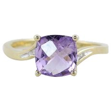 Natural Purple Amethyst and Diamond Ring 10k Yellow Gold Size 7