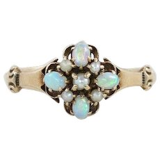 Antique Victorian Opal and Seed Pearl Ring 10k Yellow Gold Size 7 1/4