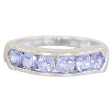 Natural Purple Tanzanite Band Ring 14k White Gold Size 6