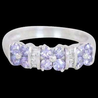 Natural Purple Tanzanite and Diamond Flower Band Ring 10k White Gold Size 7 1/4
