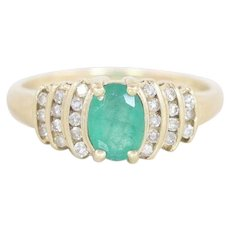 Natural Emerald and Diamond Ring 10k Yellow Gold Size 7 1/4