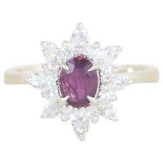 Natural Ruby and Diamond Ring 14k White Gold Size 6