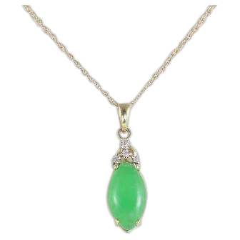 Natural Jade and Diamond Necklace 14k Yellow Gold 18 1/4 inch chain