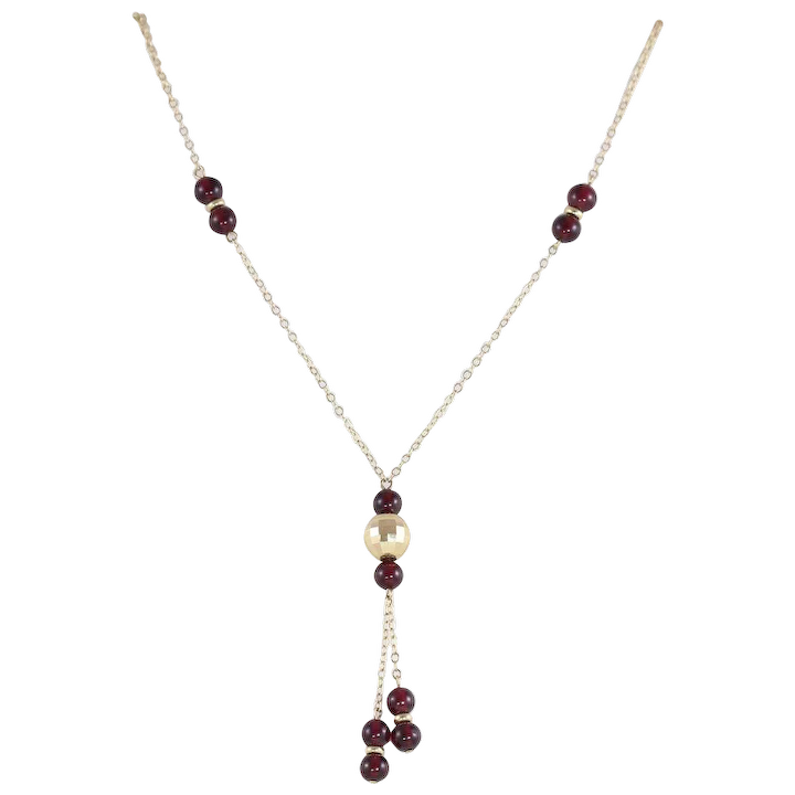 396139dc4c008 14K Yellow Gold Garnet Bead Y Necklace Lariat Style 17 inch chain