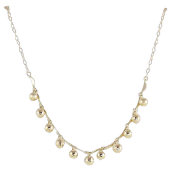 14K Yellow Gold Bead Chain Necklace 18 inch Adjustable Choker