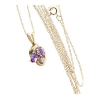 "10k Yellow Gold Natural Purple Amethyst and Diamond Necklace 18"" Chain"