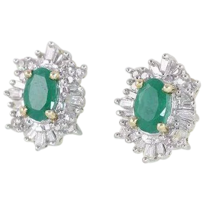 Natural Emerald And Diamond Stud Earrings 14k Yellow Gold