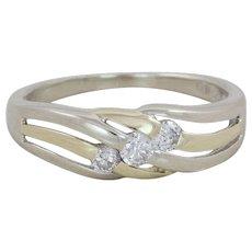 14k White Gold Diamond Band Ring Size 7 1/4