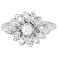 14k White Gold Diamond Cluster Ring Size 6 1/2