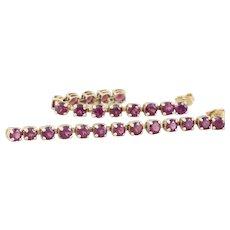Long Natural Rhodolite Garnet Dangle Drop Earrings 10k Yellow Gold
