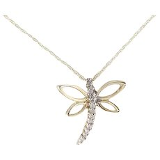 Diamond Dragonfly Necklace with 18 inch chain 10k Yellow Gold