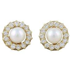 Pearl Earrings with Diamond Halo Stud 14k Yellow Gold