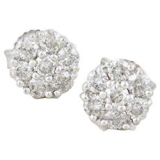 14k White Gold Diamond Stud Earrings Flower Cluster Earrings