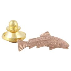 Gold Tie Tack Trout Bass Salmon Fish Mens Lapel Pin 10k Rose Gold