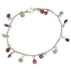 Natural Gemstone Bracelet Blue Sapphire Green Emerald Red Ruby Bracelet 10k Yellow Gold