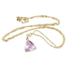 "Natural Purple Amethyst Necklace 10k Yellow Gold 18"" Twist Chain"