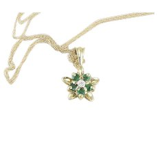 Emerald Diamond Star Flower Necklace 10k Yellow Gold 18 inch chain