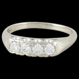 Art Deco Diamond Band Ring 14k White Gold Size 8 3/4