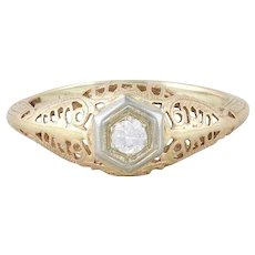 Art Deco Antique  Diamond Filigree Ring 14k White Gold and Yellow Gold Size 4 1/2