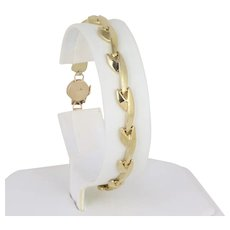 14k Yellow Gold Link Bracelet  7.5 Inches