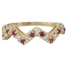 Natural Ruby and Diamond Band Ring 14k Yellow Gold size 6