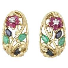 Natural Ruby Sapphire Emerald Diamond Flower Hoop Earrings 10k Yellow Gold
