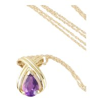 """10k Yellow Gold Natural Amethyst Pendant Necklace 18"""" inch Chain"""