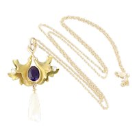Antique 10k Yellow Gold Natural Amethyst and Pearl Necklace  18 inch chain