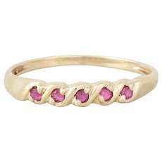 Natural Ruby Band Ring 10K Yellow Gold Thin Stackable Size 6