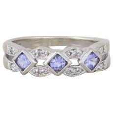 Natural Purple Tanzanite and Diamond Band Ring 10k White Gold Size 6