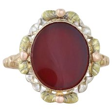 10K Yellow Gold with Rose Gold and Green Gold Antique Carnelian Ring Size 5 3/4