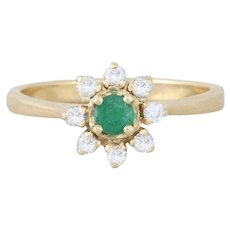 14k Yellow Gold Natural Green Emerald and Diamond Flower Ring Size 6