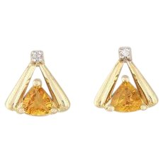 Natural Citrine and Diamond Stud Post Earrings 14k Yellow Gold